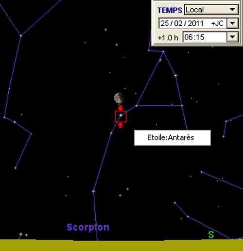 La Lune en rapprochement avec l'étoile Antarès