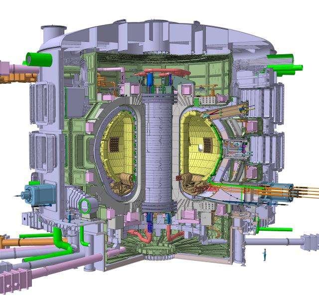 Le cœur du Tokamak. Le plasma est confiné au centre du volume intérieur (aux parois de couleur jaune sur ce dessin) par un puissant champ électromagnétique. Le charbon de coque sera installé tout près, pour filtrer le gaz extrait par les pompes. © ITER Organization