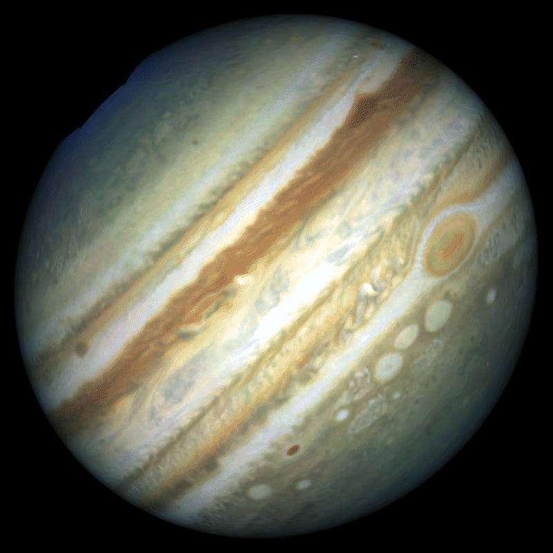 Sur cette image réalisée il y a quelques années par le télescope spatial Hubble, on distingue de nombreux détails dans l'atmosphère de la planète comme les deux bandes équatoriales ocres et la Grande Tache Rouge. La bande équatoriale sud (juste au-dessus de la Tache Rouge) est actuellement invisible. Crédit Nasa/ Reta Beebe/Amy Simon (New Mexico State University)