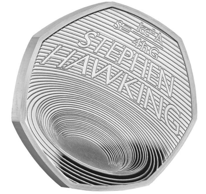 Côté pile de la pièce de monnaie britannique commémorant Stephen Hawking et une de ses plus grandes découvertes sur les trous noirs. Sur le côté face est gravé le visage de la reine. © The Royal Mint