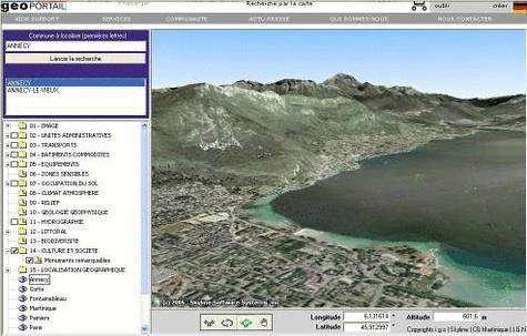 """Annecy vu par le Google Earth """"à la française"""", Géoportail"""
