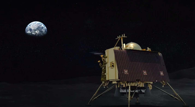 Vue d'artiste de l'atterrisseur lunaire indien Vikram, de la mission Chandrayaan-2. © ISRO