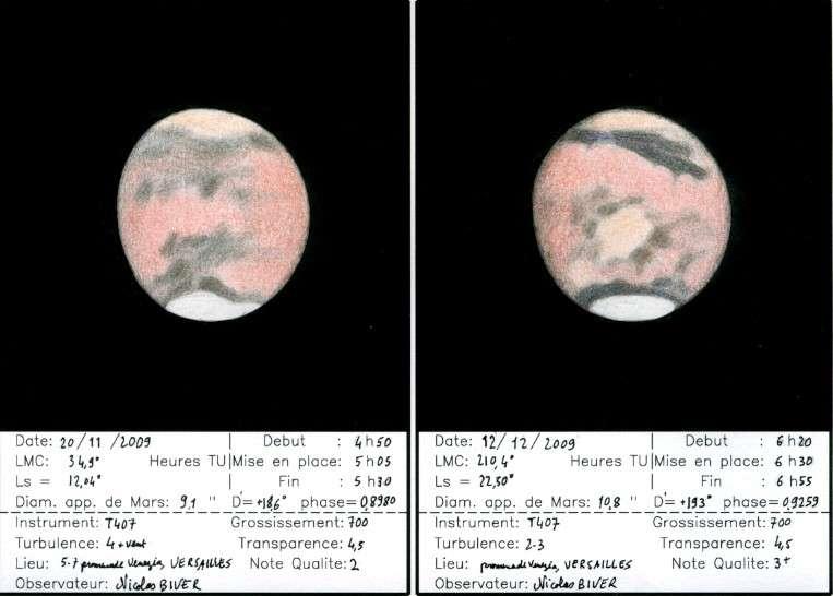 Les dessins de l'astrodessinateur Nicolas Biver avec son télescope de 406 mm de diamètre sont particulièrement riches en détails. Crédits : N. Biver
