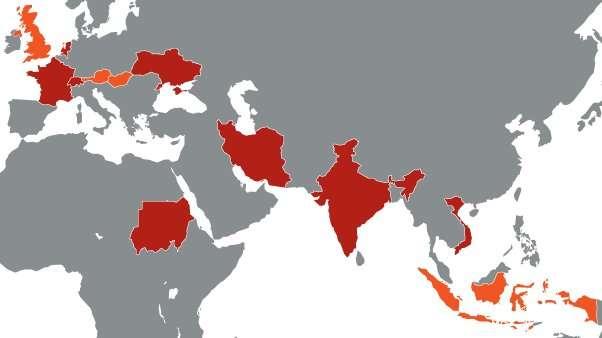 En rouge, les pays où Symantec a détecté une infection : France, Hollande, Inde, Iran, Soudan, Suisse, Ukraine et Vietnam. En orange, les pays où des cas ont été rapportés par d'autres distributeurs : Autriche, en Hongrie, en Indonésie, au Royaume-Uni. © Symantec