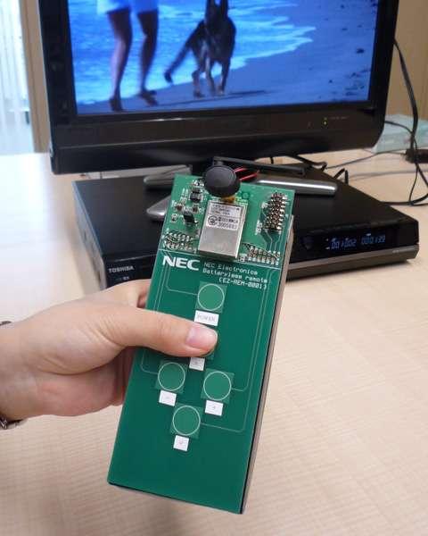 Le prototype de télécommande sans pile présenté par Nec. © Nec