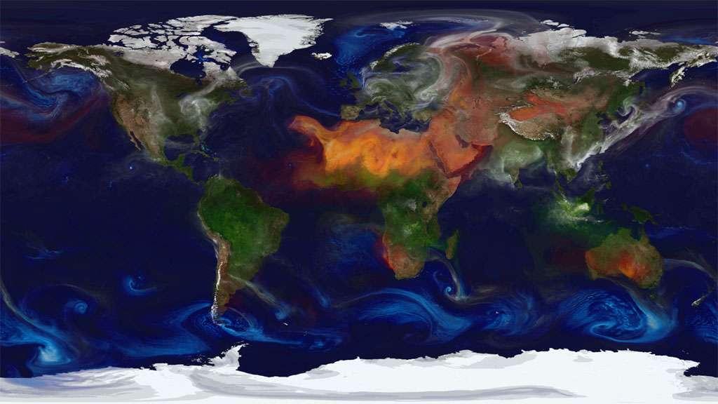 Des vastes incendies sur l'Afrique centrale et l'Australie émettent en masse des aérosols (en vert) dans l'atmosphère. Les vents dans le Sahara propagent en outre d'importantes quantités de poussières. © Nasa