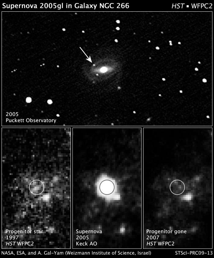 En 2005, une supernova est observée dans NGC 266. En fouillant dans les archives de Hubble, on trouve une zone occupée par ce qui semblait être une étoile massive mais la résolution est mauvaise. Grâce à l'optique adaptative, la supernova est clairement observée avec le télescope Keck. En 2007, et avec une meilleure résolution, Hubble confirme qu'une étoile a complétement disparu, imposant l'idée qu'un trou noir s'est formé par effondrement d'une LBV d'au moins 50 masses solaires. Crédit : Nasa, Esa, A. Gal-Yam (Weizmann Institute of Science, Israël)