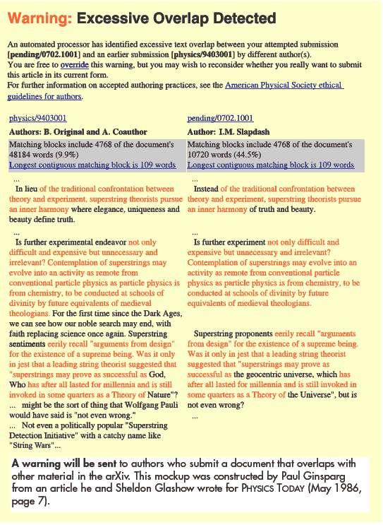 Un exemple de détection de plagiat sur arXiv avec un logiciel (Crédit : Toni Feder)