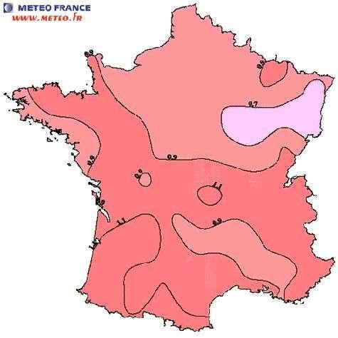 Evolution des températures moyennes en France au cours du 20ème siècle. Tendances (en °C/siècle) 1901-2000 à partir de 70 séries de températures moyennes. Crédit Météo-France.