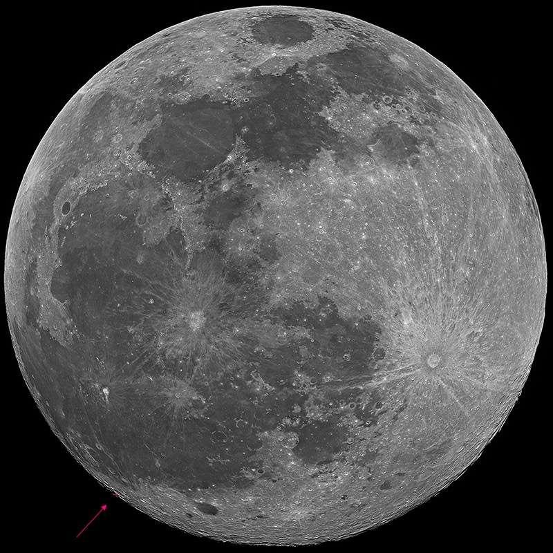 Zone de l'impact lunaire observé le 11 février 2011. © GLRG