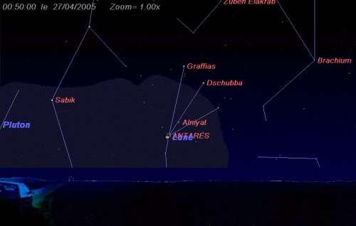 L'étoile Antarès est occultée par la Lune