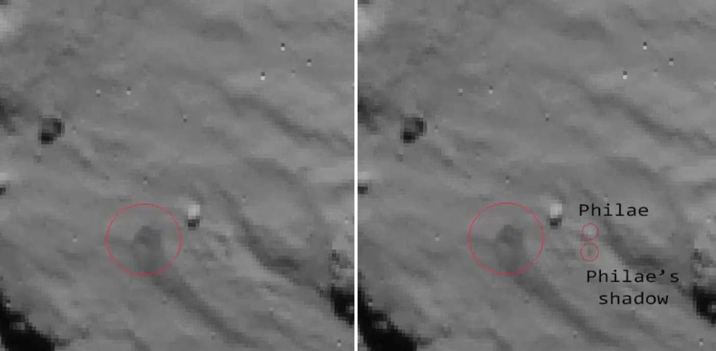 Le 12 novembre à 15 h 32 TU (16 h 32 en France métropolitaine, 511 millions de kilomètres plus loin), Philae a touché le sol de la comète 67P/Churyumov-Gerasimenko, soulevant un nuage de poussières (à gauche). À droite, un examen détaillé de l'image prise 3 mn 34 s avant le contact a révélé l'atterrisseur Philae lui-même, mais aussi son ombre (shadow). Dans les minutes qui ont suivi, l'atterrisseur était reparti pour une dernière promenade. © Esa/Rosetta/NAVCAM – CC BY-SA IGO 3.0