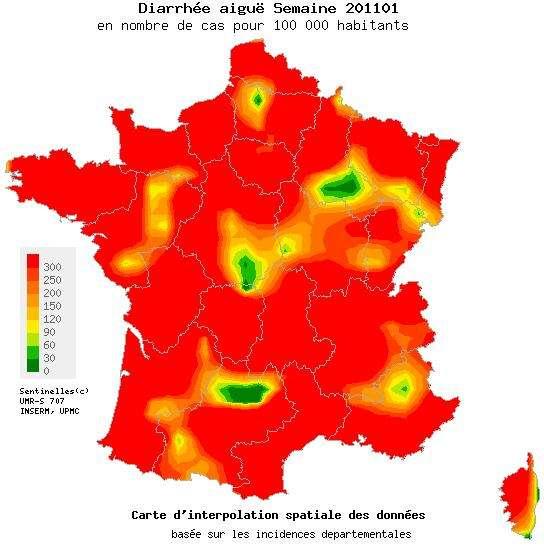 La gastro-entérite a, dans certaines régions, dépassé le seuil d'une consultation pour cent habitants. Ici, la carte de l'incidence de diarrhées aiguës mesurées du 3 janvier au 9 janvier 2011. © Réseau Sentinelles