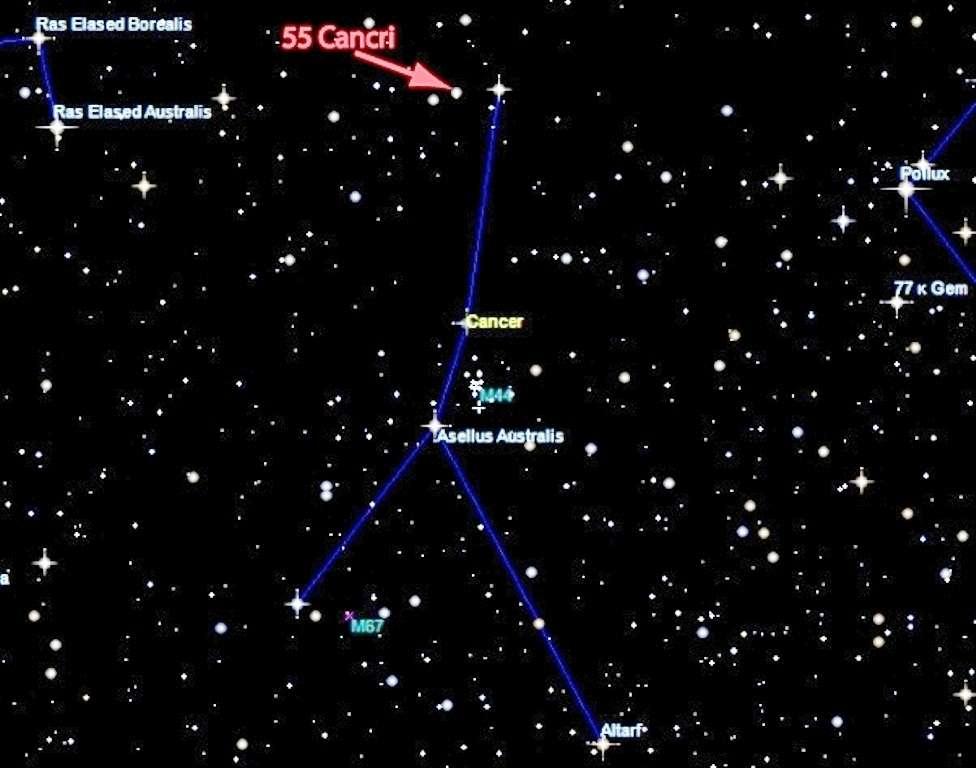 Carte du ciel montrant la planète 55 Cancri e dans la constellation du Cancer. Son étoile hôte est visible à l'œil nu, mais mieux avec des jumelles. © Image par Nikku Madhusudhan, Yale Univ. (créée avec Sky Map)