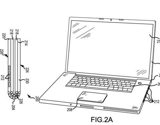 L'une des illustrations du brevet d'Apple montre comment la technique de découpe au laser permettrait de créer la charnière d'un MacBook en la taillant directement dans la masse du châssis. © Apple, USPTO