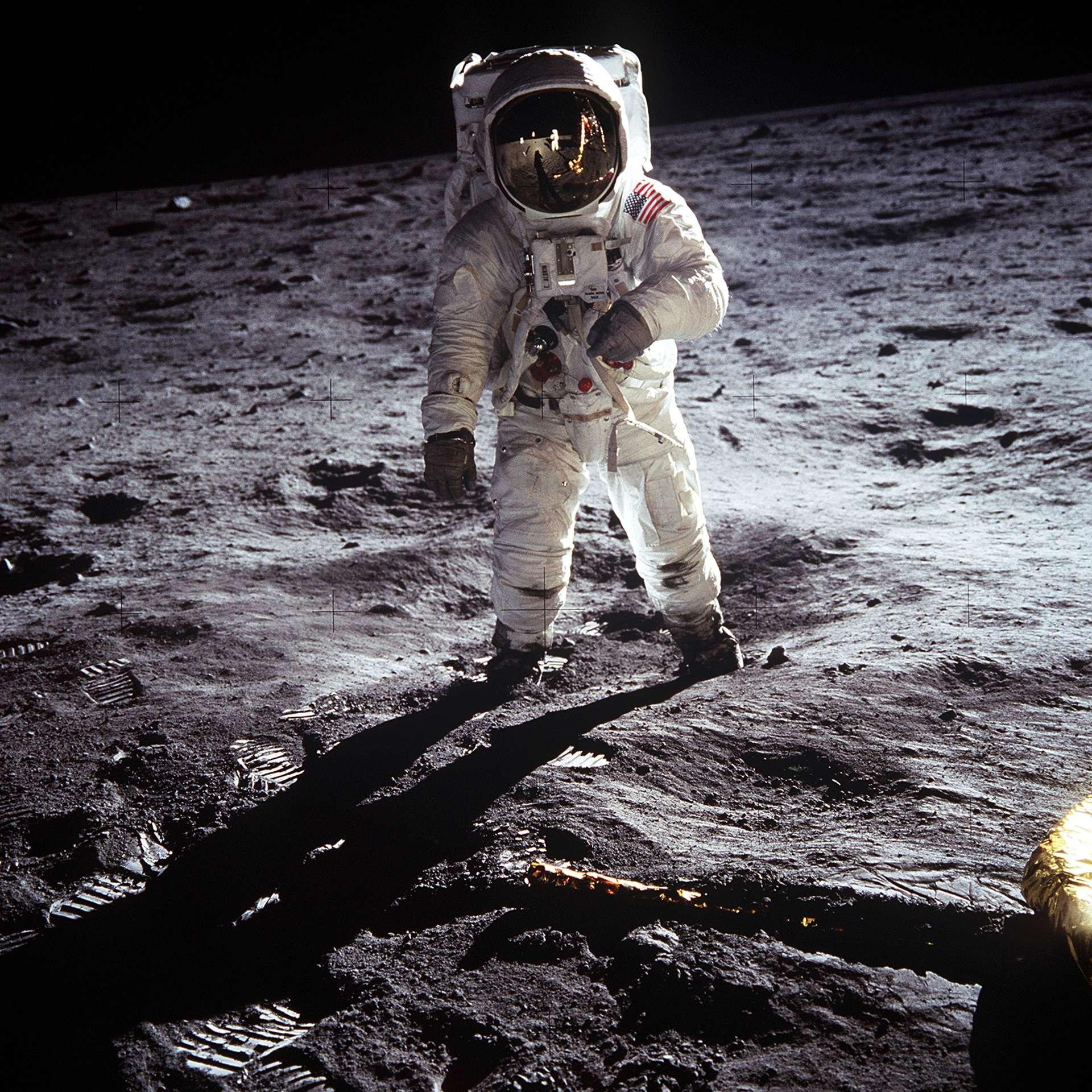 Buzz Aldrin, deuxième Homme à marcher sur la Lune après Neil Armstrong, lors de la mission Apollo 11 en 1969. © Nasa