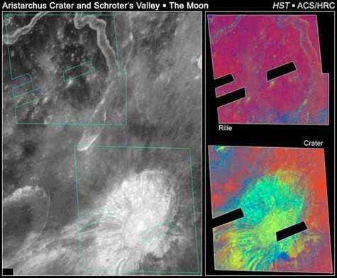 Le cratère Aristarchus et la vallée Schroter observés dans l'UV par Hubble de façon à déterminer l'abondance des éléments chimiques