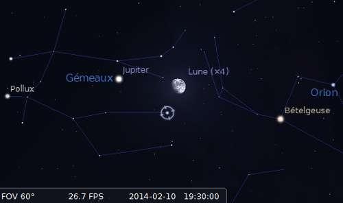 La Lune en rapprochement avec Jupiter et Alhena