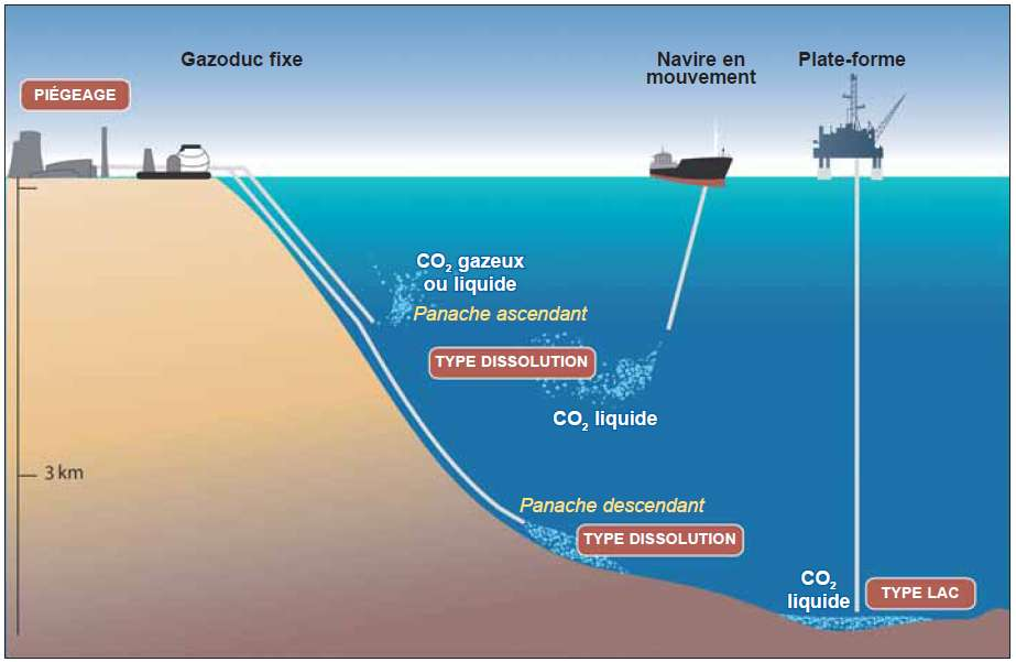 Les différentes techniques de stockage du CO2 dans les océans. La technique Droplet plume peut se faire depuis un carboduc terrestre ou depuis un pipe-line remorqué par un navire. © CO2CRC