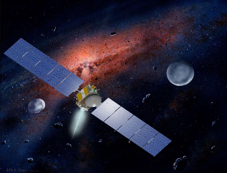 Propulsée par un moteur ionique, Dawn devrait atteindre Vesta, qui se situe à plus de 2 millions de kilomètres de la sonde, en juillet 2011. © W.Hartmann (Ucla) & Nasa/MCREL
