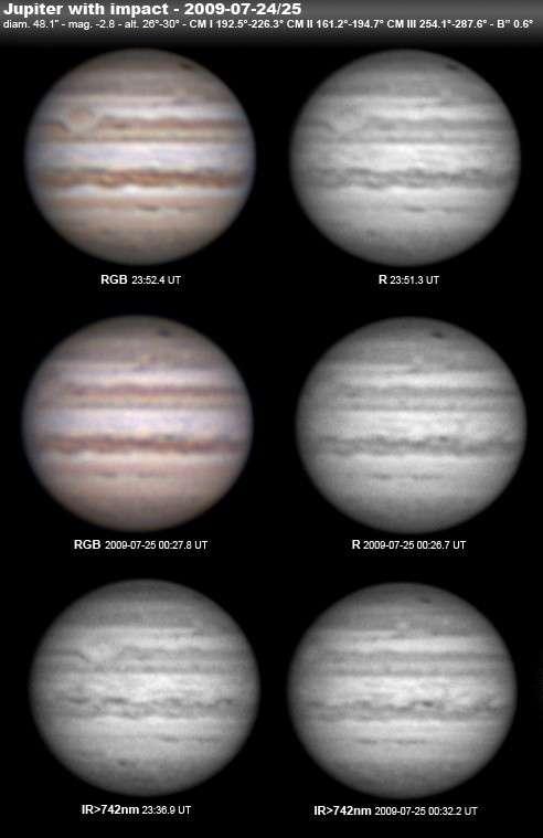 Même les astronomes amateurs ont pu photographier l'impact de 2009, comme en témoigne cette planche d'images réalisées avec une caméra CCD et un télescope de 254 millimètres de diamètre. Crédit Marc Delcroix