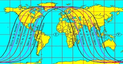 Eclipse Totale de Lune visible depuis l'Inde, l'Asie, l'Australie, l'océan Pacifique, et l'ouest de l'Amérique du Nord