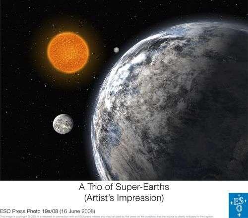 Vue d'artiste des trois exoplanètes. Crédit ESO