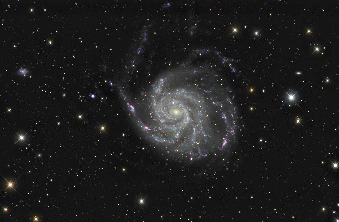 Florent Poiget a réalisé cette somptueuse image de la galaxie M 101 avec un astrographe de 30 centimètres de diamètre et 16 heures de pose. © F. Poiget