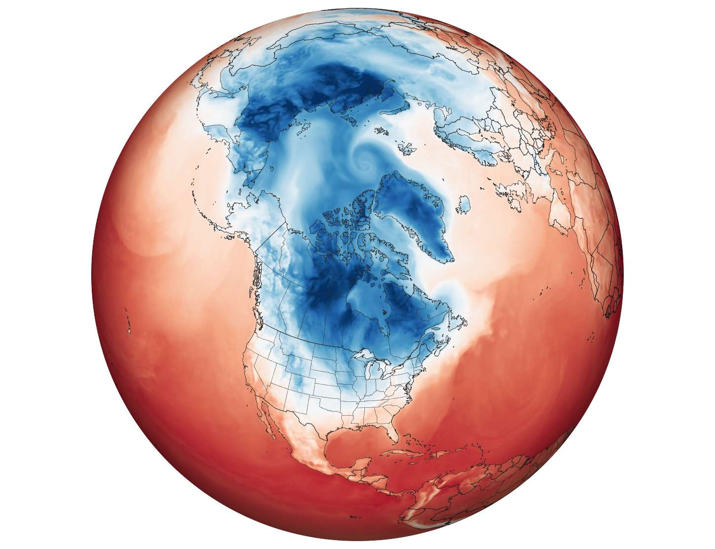 La vague de froid venue de l'Arctique s'apprêtant à balayer l'Amérique du Nord le 29 janvier 2019. © Nasa