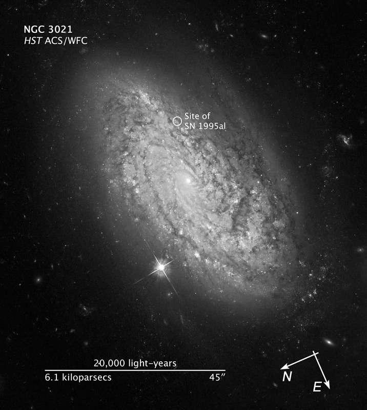 La galaxie NGC 3021 étudiée dans le cadre du projet SHOES. Crédit : Nasa-Esa