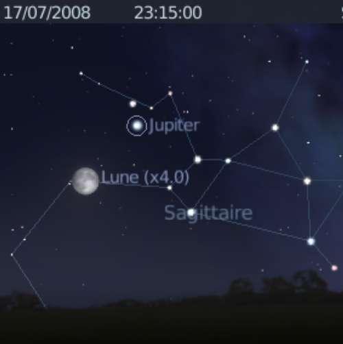La Lune est en rapprochement avec la planète Jupiter