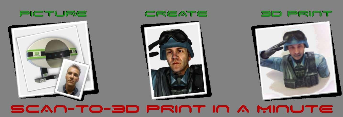 Pour réaliser son portrait en 3D, le client commence par glisser sa tête dans une sorte de grand casque, où plusieurs photographies sont prises sous différents angles (séquence picture, à gauche). L'image peut ensuite être travaillée, par exemple en ajoutant une coiffure différente ou des accessoires (séquence create). Il ne reste plus qu'à imprimer en 3D, c'est-à-dire réaliser un objet plastique, couche par couche (3D print). Avec un équipement spécial, l'effigie peut être colorée. © Digiteyezer