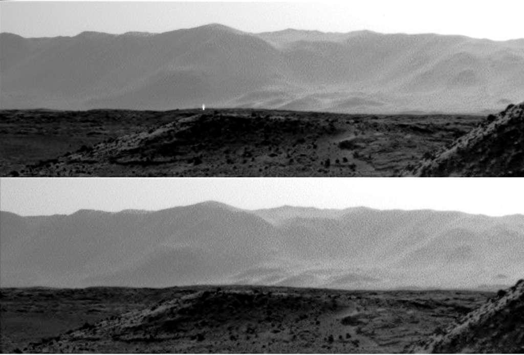 Ces images ont été captées à une seconde d'intervalle par deux des instruments équipant le rover Curiosity le 3 avril 2014. L'une montre une étrange lumière semblant sortir à la verticale du sol de Mars. S'agit-il d'une lumière artificielle trahissant la présence d'une civilisation sur Mars ou d'un phénomène naturel ? © Nasa, JPL