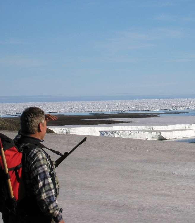 Au niveau de la zone d'étude, l'équipe a pu contempler la banquise qui fige toute l'année l'océan au nord-est du Groenland. © Svend Funder