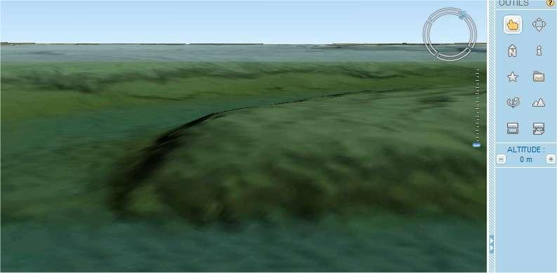 Plongée sous la surface du Golfe du Morbihan (capture d'écran de Géoportail avec TerraExplorer).