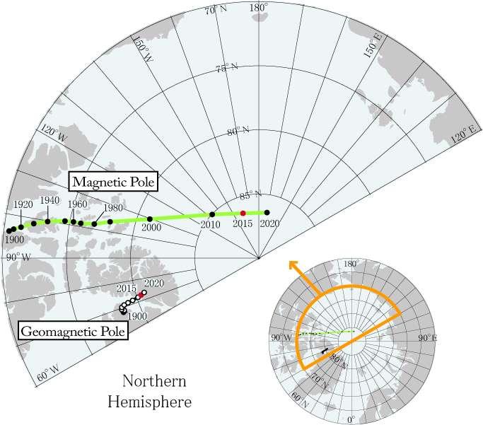 Le pôle Nord magnétique (à ne pas confondre avec le pôle Nord géomagnétique obtenu si on assimile le champ magnétique terrestre à un dipôle) fait des siennes, obligeant les scientifiques à mettre à jour un an en avance le modèle magnétique mondial (WMM). © World Data Center for Geomagnetism/Kyoto University