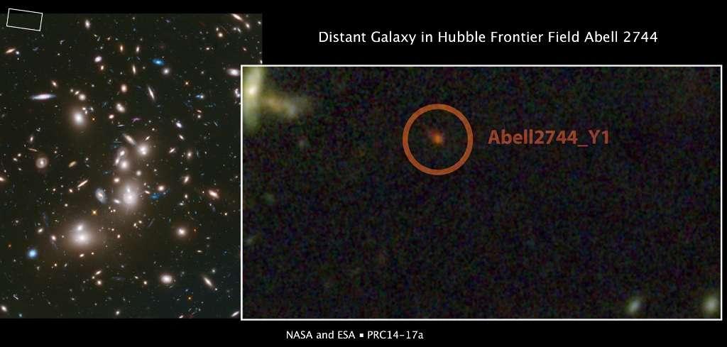 L'amas de galaxies Abell 2744 se comporte comme une lentille gravitationnelle. Avec cet effet, on peut observer des objets parfois 100 fois moins lumineux que ne le permettrait un télescope. Dans le cas présent, il a permis de débusquer en haut à gauche une région où l'on a découvert une des plus lointaines galaxies connues. Elle a été baptisée Abell2744_Y1. © Nasa, Esa, J. Lotz, M. Mountain, A. Koekemoer, HFF Team (STScI), N. Laporte (Instituto de Astrofisica de Canarias)