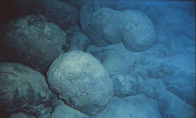 Des laves en coussins sont ici visibles au fond d'un océan. Toutefois, on peut aussi en observer sur la terre ferme, par exemple dans le massif alpin du Chenaillet (France). © NOAA, Wikimedia Commons, DP