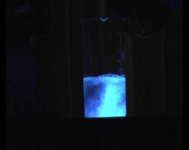 Réaction du luminol avec l'eau oxygénée
