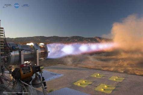 Gros plan sur le fonctionnement du moteur à méthane et oxygène liquide de XCORE Aerospace. Crédit : XCORE - NASA