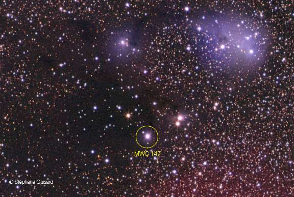 MWC 147 et ses voisins. © S. Guisard/ESO