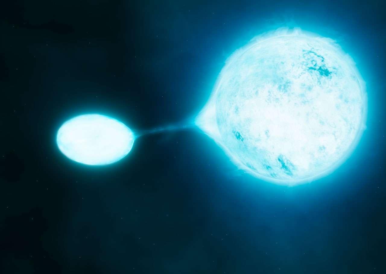 Une nouvelle recherche utilisant le VLT de l'ESO a révélé que les étoiles les plus chaudes et les plus brillantes, connues sous le nom d'étoiles O, sont souvent découvertes en paires très rapprochées. Un grand nombre de ces systèmes binaires transfère de la masse d'une étoile à une autre, une sorte de vampirisme stellaire dépeint dans cette vue d'artiste. © M. Kornmesser, S. E. de Mink, ESO