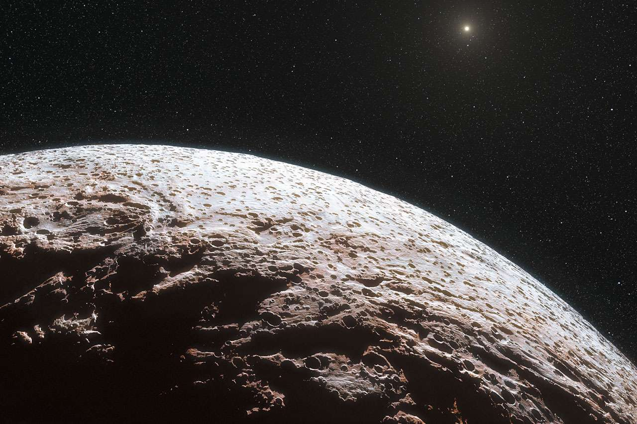 Cette vue d'artiste montre la surface de la planète naine lointaine Makémaké. © ESO