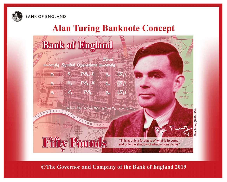 Le mathématicien Alan Turing a été choisi pour illustrer les nouveaux billets de 50 livres au Royaume-Uni à partir de fin 2021. © The Governor and Company of the Bank of England 2019
