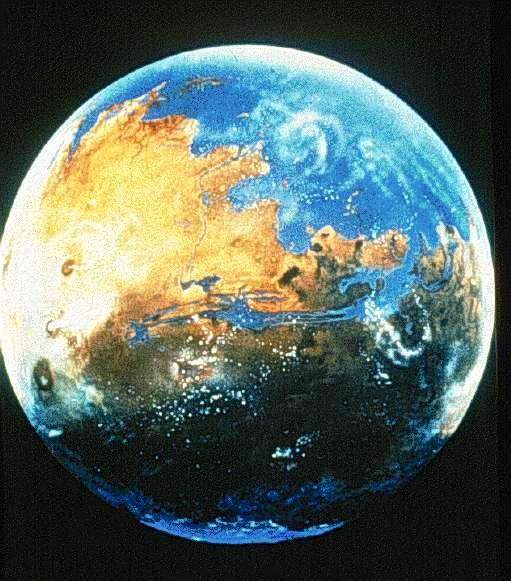 Une reconstitution possible des océans martiens. Crédit : Michael Carroll