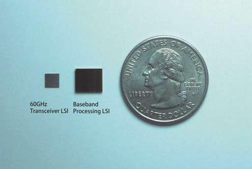 Minuscule, la puce Wi-Gi de Panasonic offre un débit de 2,5 Gigabits/s en ne nécessitant que 1 watt de puissance. © Panasonic