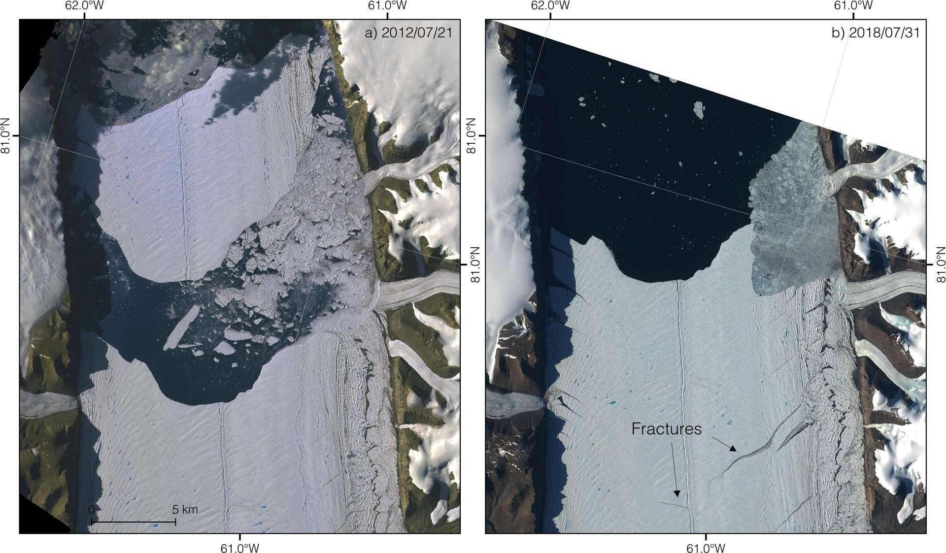 À gauche, le glacier Petermann vu par le satellite Terra de la Nasa peu après qu'un iceberg se soit détaché de la langue en 2012. À droite, le glacier vu par le satellite Sentinel 2 de l'ESA le 31 juillet 2018. De nouvelles fissures sont visibles, se développant depuis le versant est du fjord jusqu'au milieu de la langue. © Nasa/JPL/ESA