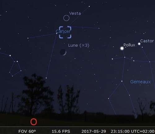 La Lune en rapprochement avec l'amas de la Crèche et Vesta