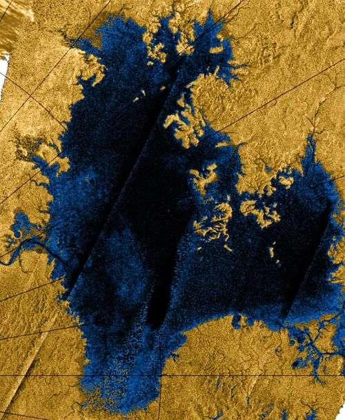 Image radar en fausses couleurs d'un lac d'hydrocarbures à la surface de Titan, dans la région du pôle nord. Crédit : Nasa/JPL/USGS