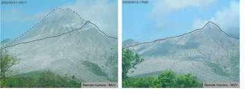Photos du volcan de Soufrière Hills (Montserrat) prises le 31 mai 2003 et le 12 Août 2003 (avant et après l'écroulement de juillet 2003). © MVO